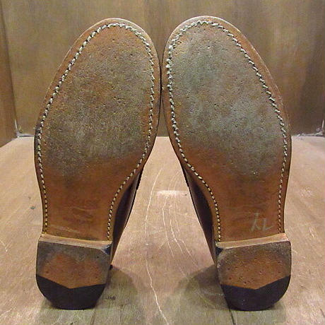 ビンテージ●G.H.BASS&CO.ペニーローファー赤茶9 1/2 B●210112n5-m-lf-26cm メンズ革靴レザーソール