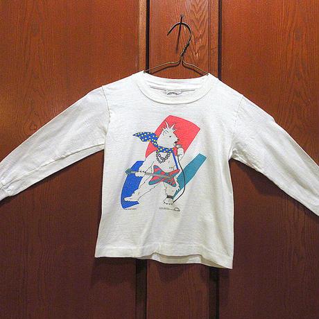 ビンテージ80's●GOLDEN RAINBOWコットン長袖Tシャツ白size 5/6●210511s11-k-lstshゴールデンレインボー古着アニマル動物トップス