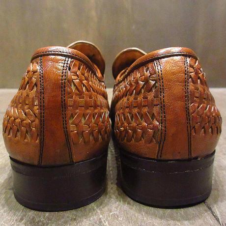 ビンテージ70's80's●FLORSHEIM編み込みレザーローファー茶9W●210502n2-m-lf-27cm 1970s1980sフローシャイム革靴メンズ
