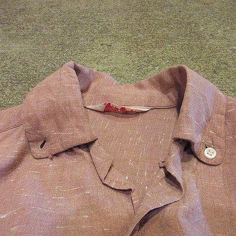 ビンテージ50's●Rob Royレディースネップ織りカスリ柄レーヨンボタンダウンループカラーシャツsize 16●210501s6-w-lssh古着長袖シャツ