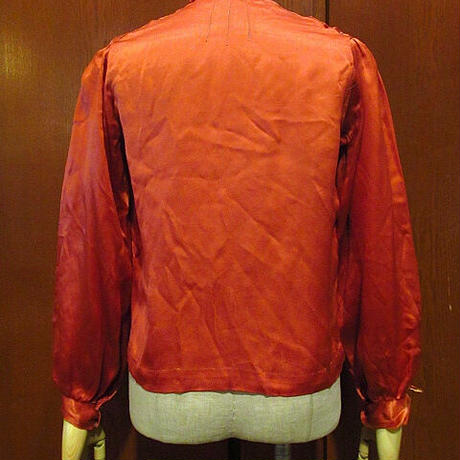 ビンテージ-30's●リボン付きノーカラーシルクブラウスレンガ色●201227s9-w-lssh 1920s1930sアンティーク古着レディースUSAトップス長袖