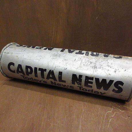ビンテージ●CAPITAL NEWSブリキ丸型ポスト●210603n8–otclct雑貨インテリアディスプレイメタルニュース郵便