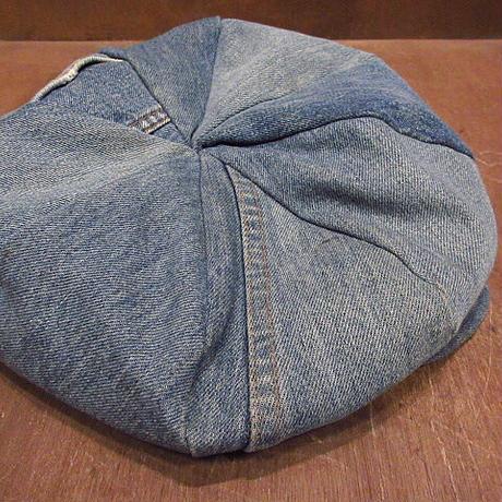 ビンテージ60's70's●デニムパッチワークキャスケット●210311n1-m-cp-cas古着帽子メンズハンチングハンドメイドLevi'sリーバイス