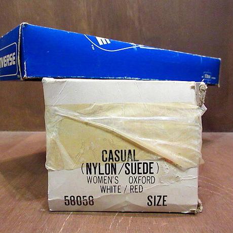 ビンテージ80's●DEADSTOCK 箱付きCONVERSE CASUAL NYLON×SUEDE 9 1/2●201223n5-w-snk-25cm スニーカーコンバース