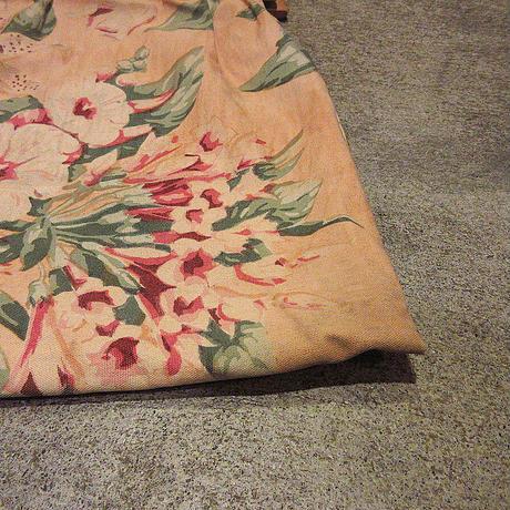 ビンテージ40's●ウッドハンドル花柄キャンバスハンドバッグ●210405f6-bag-hndフラワーパターンかばん1940sコットン