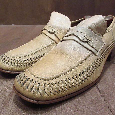 ビンテージ70's●編み込みレザーローファー9 1/2 M●210404n4-m-lf-275cm 1970sメンズ革靴アイボリーナチュラル