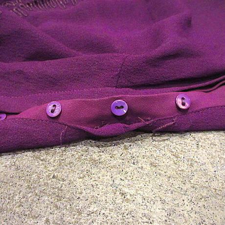 ビンテージ40's●模様入り七分袖ワンピース紫●210220s2-w-lsdrs古着ドレスUSAレディース女性用無地