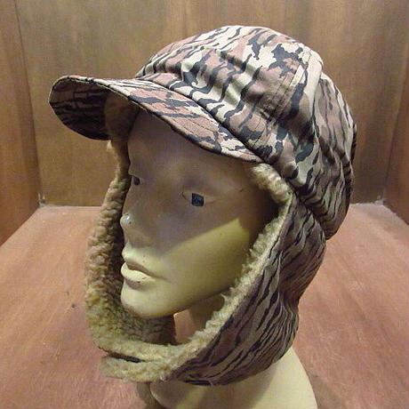 ビンテージ90's●Columbiaボトムランドカモ耳当て付きボアキャップL/XL●201018n1-m-cp-ot 1990sコロンビア帽子迷彩柄ハンティング