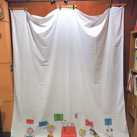 ビンテージ70's●Stevens UTICAピーナッツ柄ベッドシーツsize 235.5cm×210cm●210605s1-fbrスヌーピーキャラクター生地寝具雑貨ファブリックUSA
