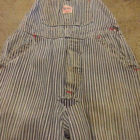 ビンテージ40's●BIG MACキッズヒッコリーストライプオーバーオールW62cm●201112f6-k-oval-W24古着つなぎビッグマック子供服ワーク
