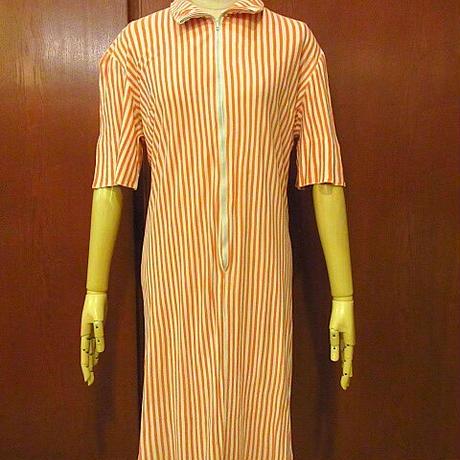 ビンテージ40's50's●MODE O' DAYジップアップストライプ半袖ワンピース橙×白●200912f7-w-ssdrs古着ドレスレディースUSA