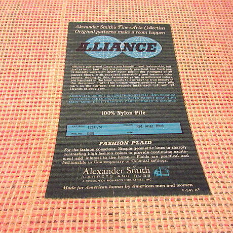 ビンテージ70's●Alexander Smith チェックラグsize 93.5cm×69cm●200907f8-rugカーペット玄関マットUSAレトロインテリア