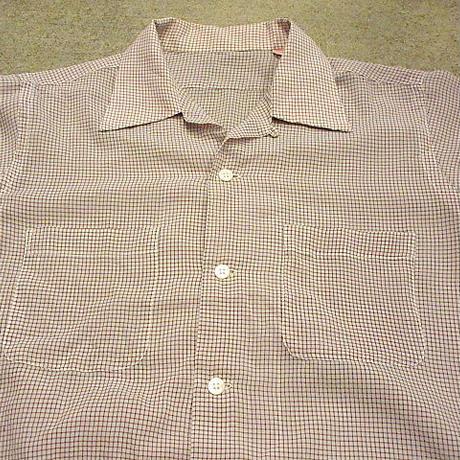 ビンテージ50's●チェックループカラー半袖シャツ●200611s3-m-sssh-lp メンズトップス古着ボックスシャツ