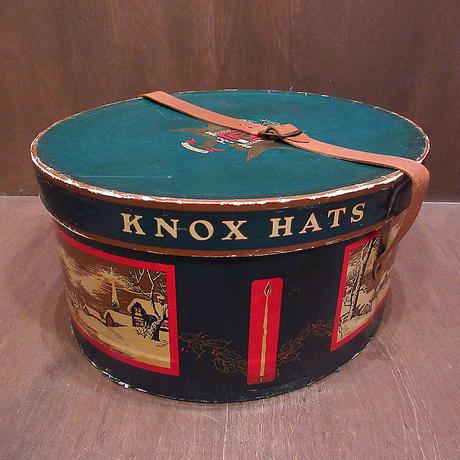 ビンテージ~50's●KNOXハットボックス●210603n4-bxsノックス箱雑貨収納USA帽子ディスプレイ