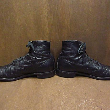 ビンテージ30's40's●キャップトゥレースアップブーツ黒size 8●210603n7–m-bt-26cm革靴メンズストレートチップドレスシューズ