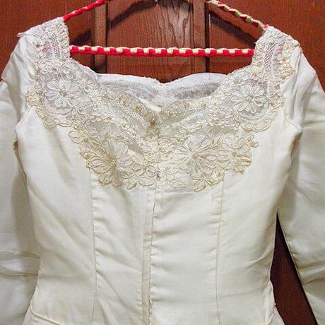 ビンテージ60's●ビーズ&フラワーレースウェディングドレス●210302f3-w-lsdrs レディース結婚式衣装ワンピース古着