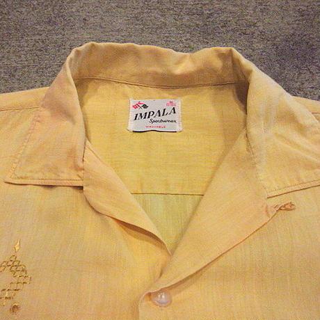ビンテージ50's●IMPALA Sportswear刺繍入りコットンループカラー半袖シャツ黄size M●200707s1-m-sssh-lp開襟シャツトップスイエローUSA