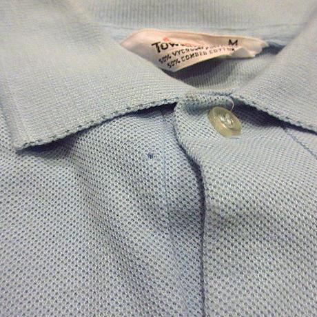 ビンテージ60's70's●Penneysワンポイント刺繍入りポロシャツ水色sizeM●200619f2-m-plsh古着半袖シャツプルオーバートップスUSA