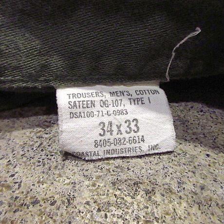 ビンテージ70's●U.S.ARMYコットンサテンベイカーパンツsize 34×33●210307s7-m-pnt-mlt-W34古着ミリタリー米軍実物ボトムスUSA