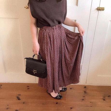 okome dot pleats skirt (red bean)