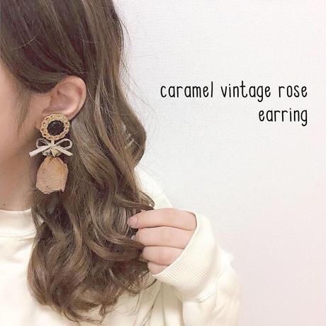 caramel vintage rose earring