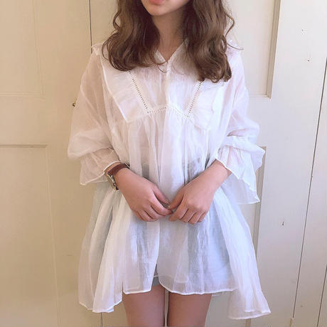 see through frill blouse