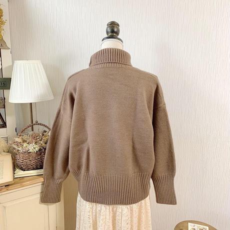 turtle neck volume knit (chocolate)
