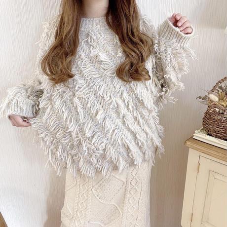 fringe mix color knit