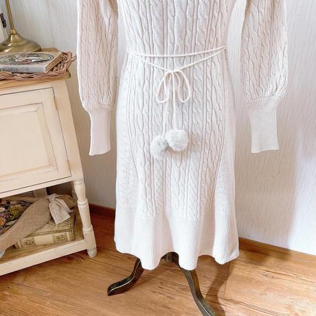 back fur ribbon knit mermaidonepiece