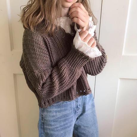 V neck charcoal knit