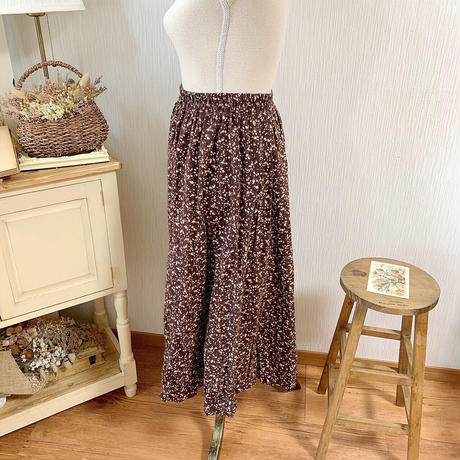 sweet flower A line skirt (chocolate)