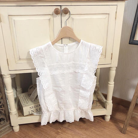 flower lace no sleeve blouse