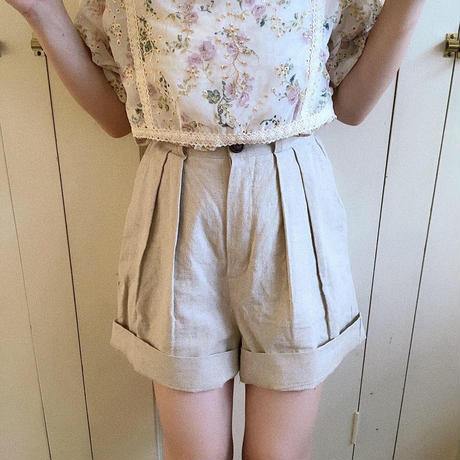 autumn linen short pants (ivory)