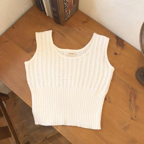 summer knit no sleeve (white)