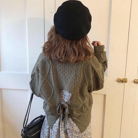 back w ribbon knit (khaki)
