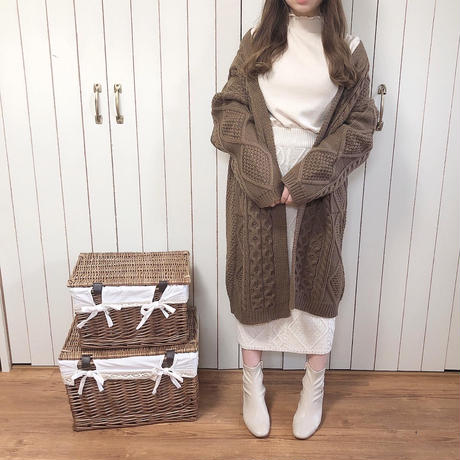 cable knit long cardigan (chocolate)