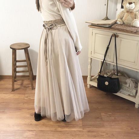 back leather ribbon reversible skirt