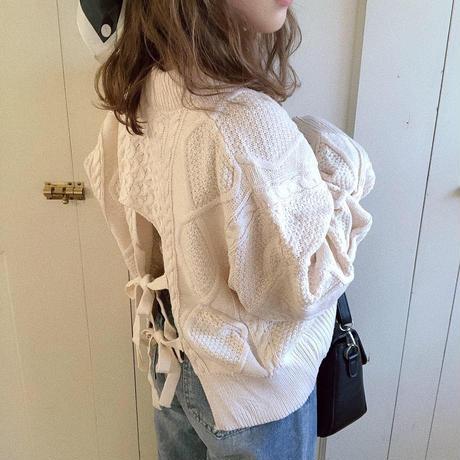 back w ribbon knit (white)