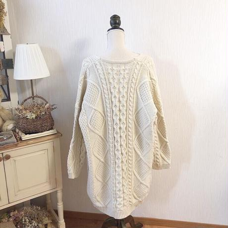 cable knit long cardigan (vanilla)