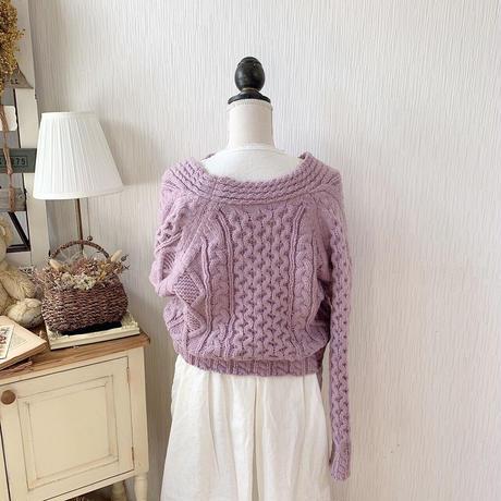 volume cropped knit cardigan (smoke purple)