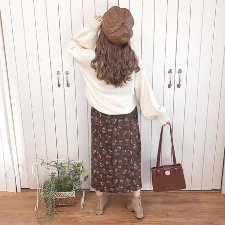 antique flower choco skirt