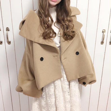 voluslee big silhouette short coat (olive beige)