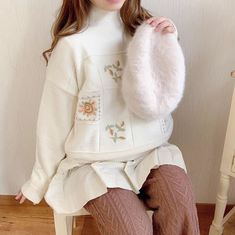 flower retro embroidery knit