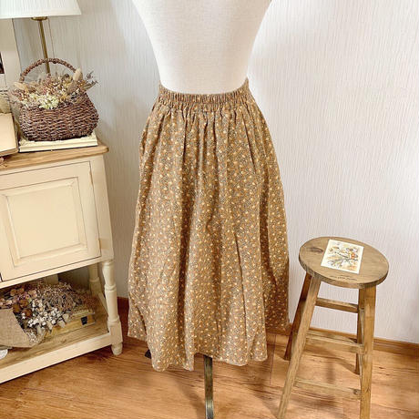 sweet flower A line skirt (mustard)