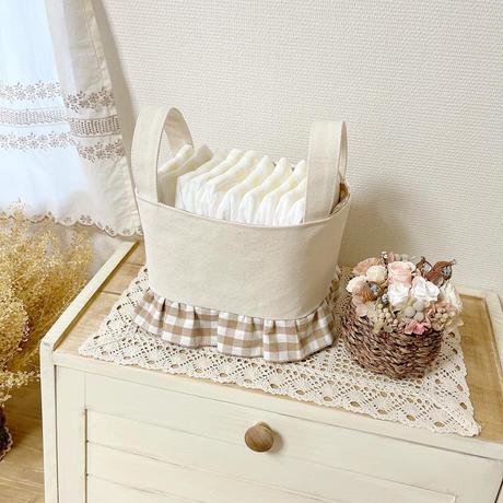 canvas fabric basket (checkered)