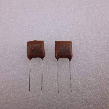 180pF/500V マイカ コンデンサ 双信電機製 2個パック  ( ZHW-589 )