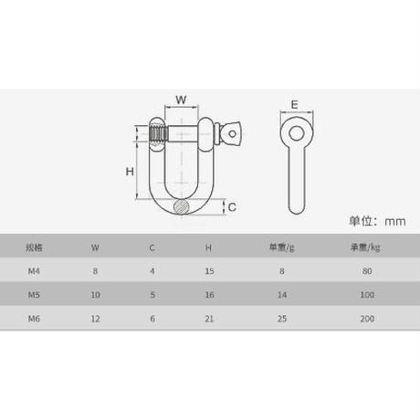 ステンレス製ネジシャックル  M6用  4個セット( ZHW-700 )