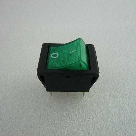 角型ロッカースイッチ 緑 ネオン管付 ( ZHW-019 )