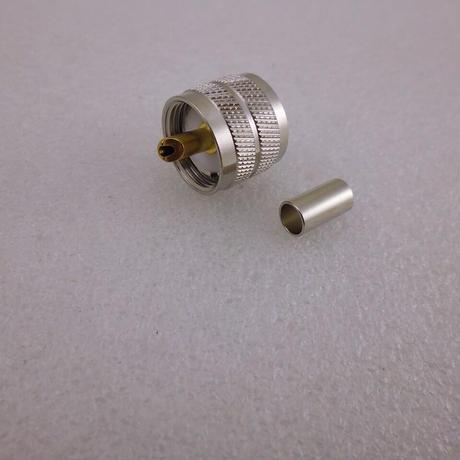 圧接(圧着)型 3D-2V / RG142 用  M型(UHF型) 同軸コネクタ プラグ ( ZHW-682 )