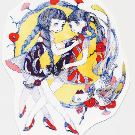 (ステッカー)鳥と少女